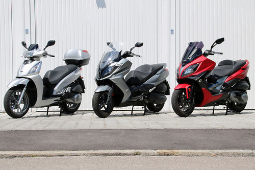 Vergleich: Kymco People GT 300i, New Downtown 350i und Xiting 400i